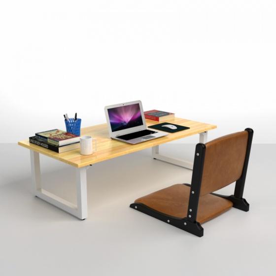 Bộ bàn bệt IBIE Rec-B trắng màu tự nhiên 1m2 và ghế Pisu gấp gọn màu nâu