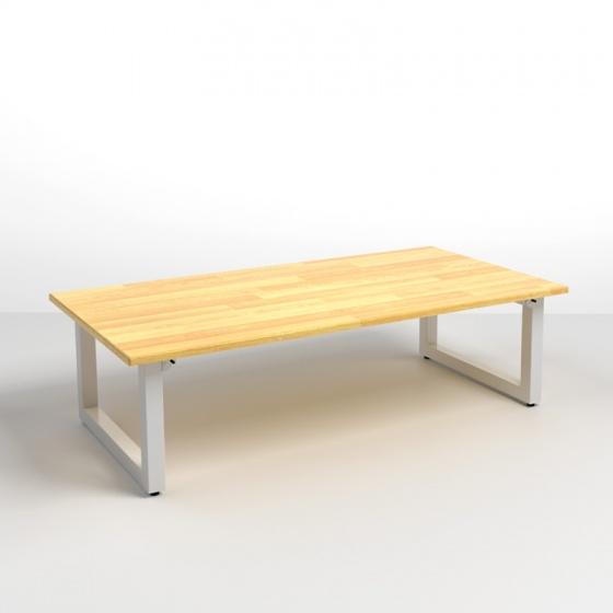 Bộ bàn bệt Rec-B trắng gỗ cao su và ghế Pisu gấp gọn - IBIE