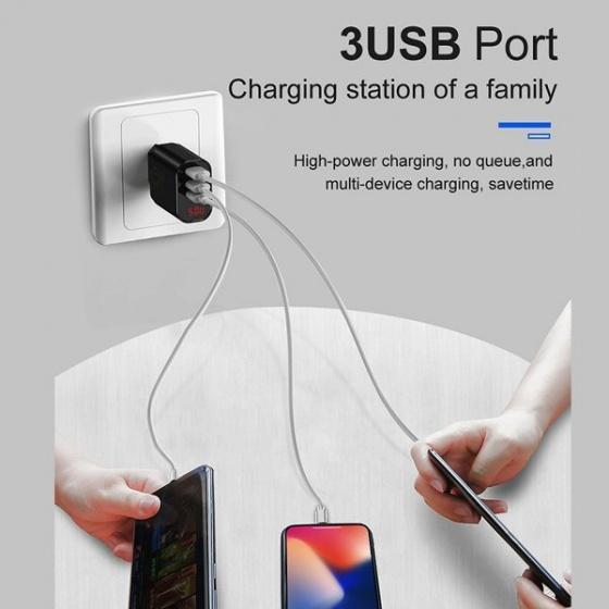 Sạc Baseus 3 Cổng USB, 3.4A (Digital Display) - CCALL