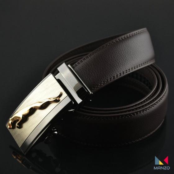 Thăt lưng- dây nịt nam da bò thật mạnh mẽ nam tính khóa tự động Manzo báo vàng.1 ( tặng móc khóa da thật)