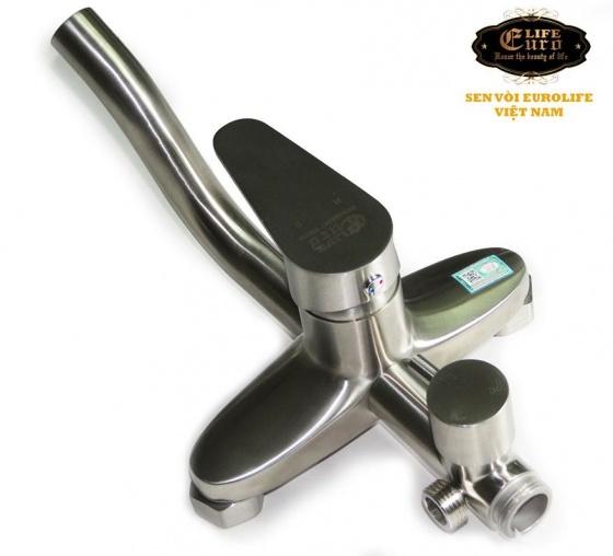 Bộ sen cây tắm đứng nóng lạnh Inox SUS 304 Eurolife EL-S916 (trắng vàng)