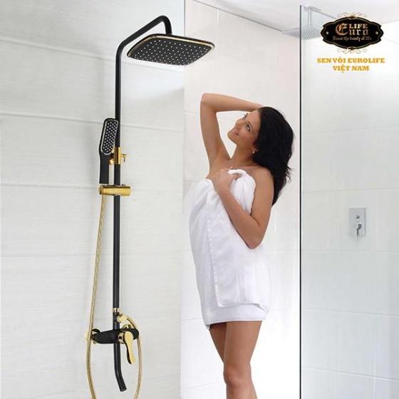 Bộ sen cây tắm đứng nóng lạnh Eurolife EL-S914 (đen vàng)