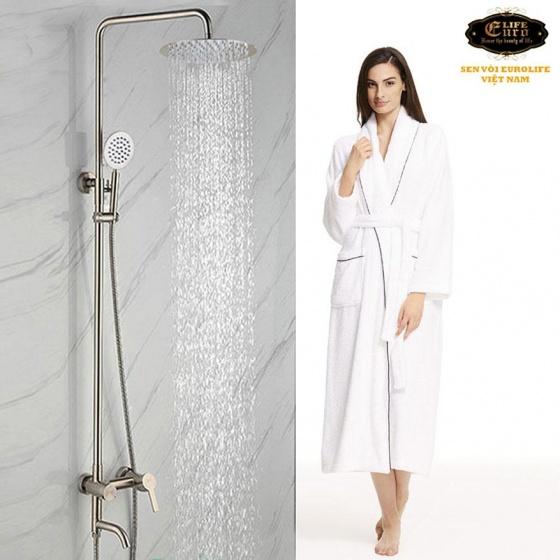 Bộ sen cây tắm đứng nóng lạnh Inox SUS 304 Eurolife EL-S910 (trắng vàng)
