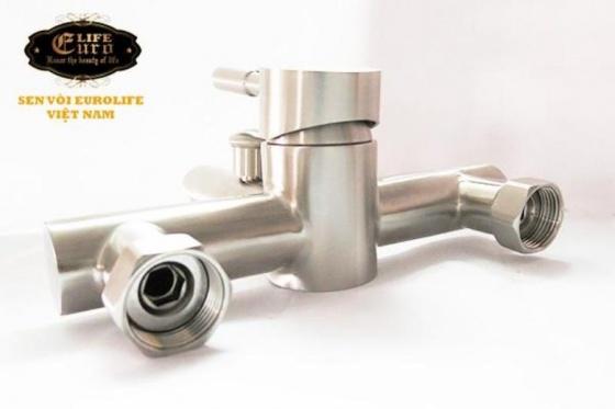 Bộ vòi sen nóng lạnh Inox SUS 304 Eurolife EL-1201 (trắng vàng)