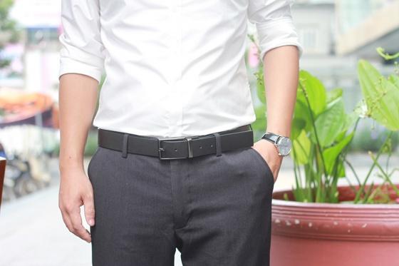 Thắt lưng nam, dây nịt nam, Da Bo Thật 100% Manzo 108 (Dây 2 mặt đen, nâu) - Tặng đinh đục lỗ tiện lợi