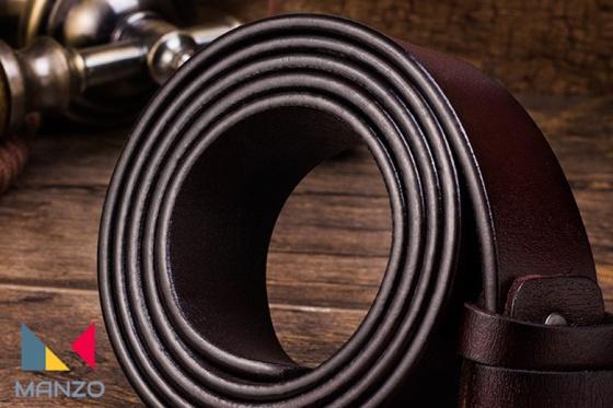 Dây nịt thắt lưng nam da bò thật, khóa kim chữ cao cấp Manzo 101 BH 1 năm  Tặng định đuc lỗ