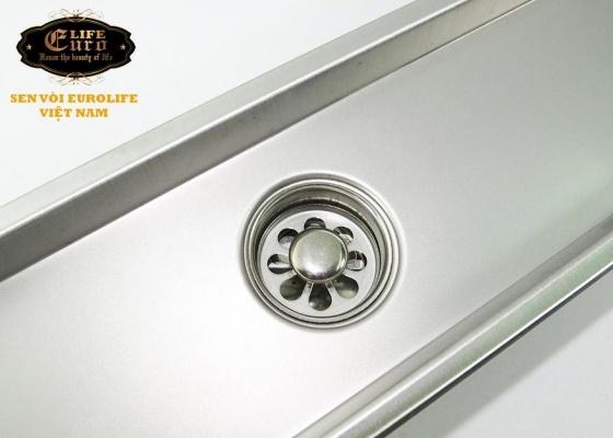 Hố ga thoát sàn Inox SUS 304 10X60cm Eurolife EL-HG1060 (trắng bạc)