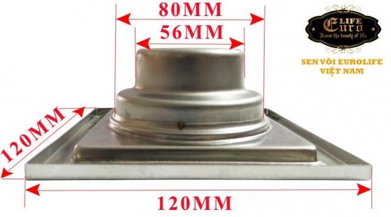 Hố ga thoát sàn Inox 12X12cm Eurolife EL-X31 ( trắng bạc )