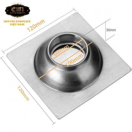 Hố ga thoát sàn inox 12x12cm Eurolife EL-X12 (trắng bạc)