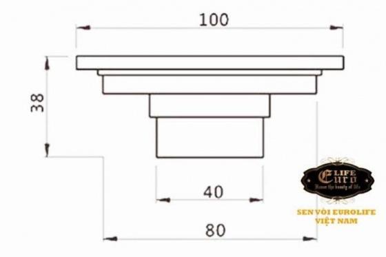 Hố ga thoát sàn Đồng hoa văn 10x10cm Eurolife EL-X09 (vàng đồng)