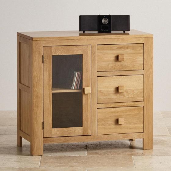 Tủ lưu trữ 1 cánh kính 3 ngăn kéo Capri gỗ sồi 1m - Cozino