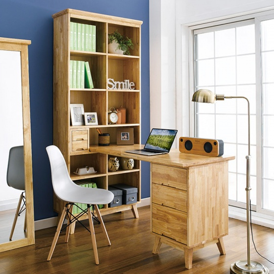 Bộ bàn làm việc và kệ sách Ixora gỗ cao su - Cozino
