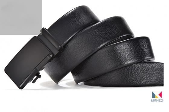Thắt lưng dây nịt nam Manzo 719 da cao cấp Khóa tự động ( tặng móc khóa da bò thật)