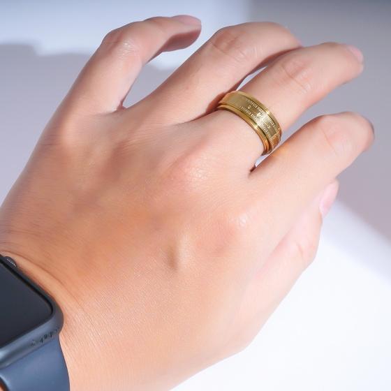 Nhẫn kinh phật khắc chú úm mani bát minh hồng - họa tiết