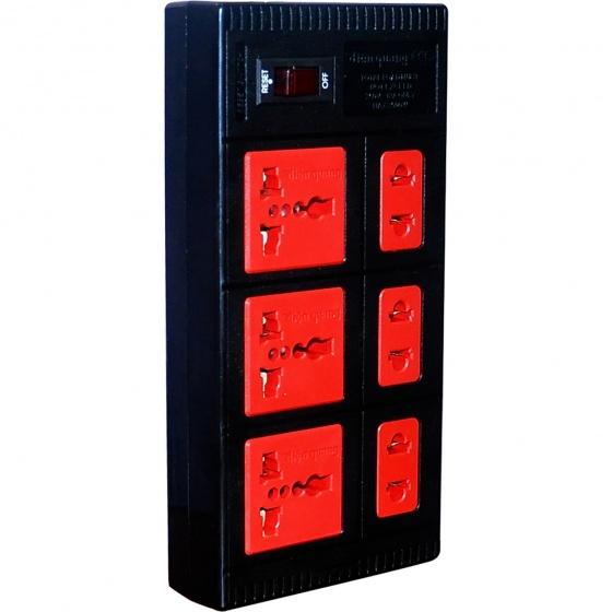 Ổ cắm Điện Quang ECO ĐQ ESK 5BR 6ECO (6 Lỗ, dây dài 5m, màu đen đỏ)