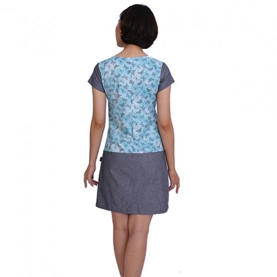 Đầm suông chất linen màu xanh Angeli Phạm hàng chính hãng
