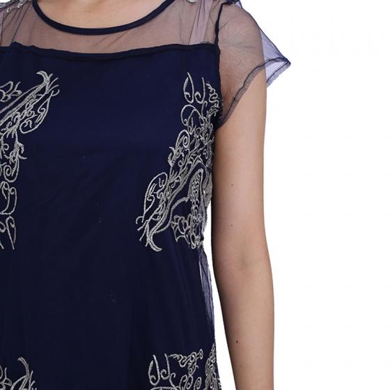 Đầm suông lưới tím than Angeli Phạm hàng chính hãng