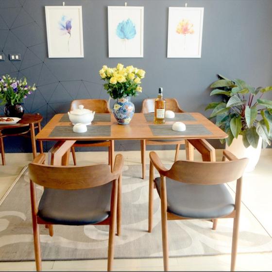 Bộ bàn ăn Praha màu walnut 4 ghế