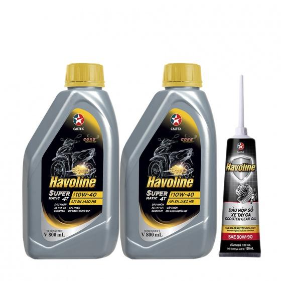 Combo 2 chai dầu nhớt xe tay ga Caltex Havoline SuperMatic 4T SAE 10W-40 800ml tặng kèm nhớt hộp số xe tay ga