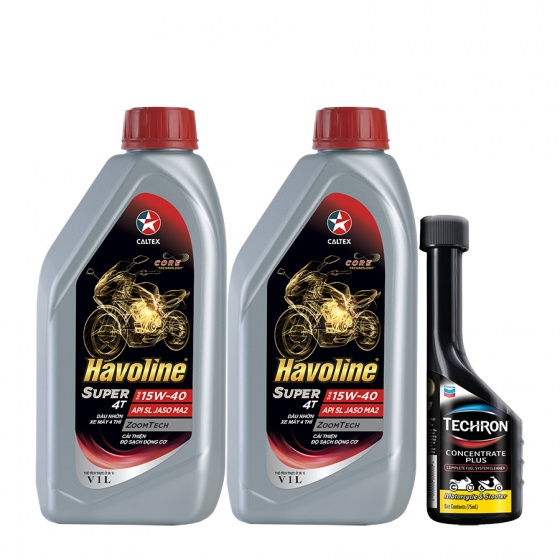 Combo 2 chai dầu nhớt xe số và xe côn tay Caltex Havoline Super 4T SAE 15W40 1L tặng kèm dung dịch vệ sinh buồng đốt