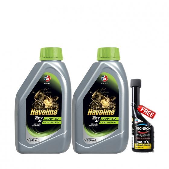 Combo 2 chai dầu nhớt xe số cao cấp Caltex Havoline Ezy 4T SAE 20W-40 800ml tặng kèm dung môi vệ sinh buồng đốt