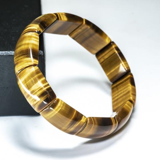 Vòng tay đá mắt hổ vàng bản vuông - BRYTEV01 Vietgemstones