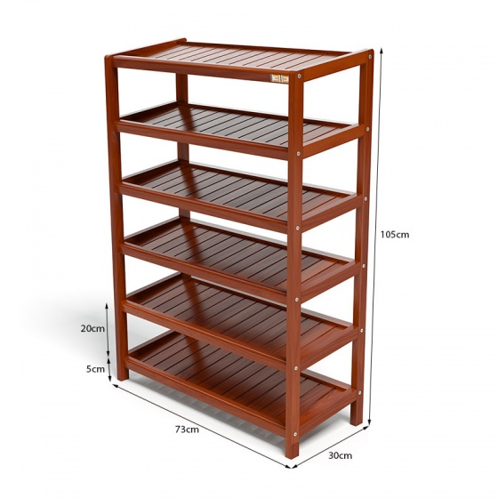 Kệ dép 6 tầng IBIE IB673 gỗ cao su 73x30x105 cm màu cánh gián