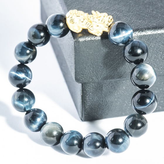 Vòng tay đá mắt hổ xanh 10mm mix tỳ hưu bạc Thái BRTIGG10MT03 - VietGemstones