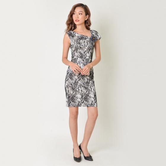 Đầm body ren thời trang Eden cổ lệch - D345