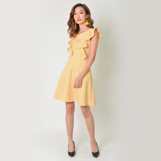 Đầm chữ A thời trang Eden tay cánh tiên màu vàng - D347