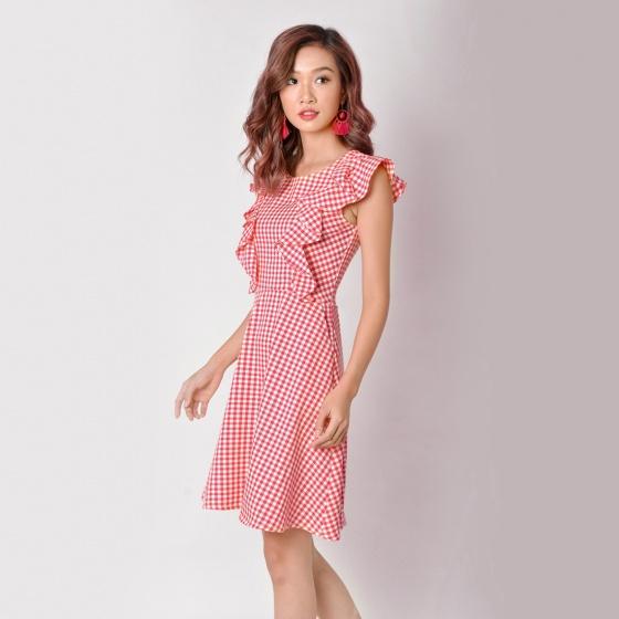 Đầm chữ A thời trang Eden tay cánh tiên màu đỏ - D347