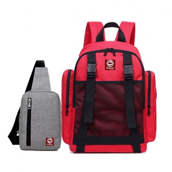 Combo balô thời trang hàn quốc HR234 và túi đeo chéo cá tính HARAS HR147xam