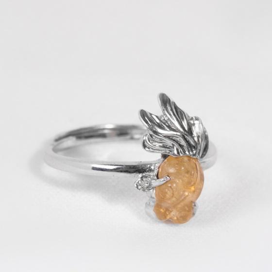 Nhẫn bạc cá 3 đuôI tourmaline cam