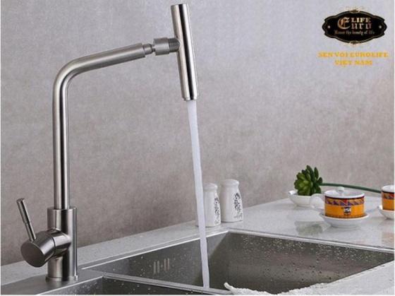 Vòi rửa chén nóng lạnh Inox SUS 304 nguyên khối đầu vòi xoay 360 độ Eurolife EL-T031 (Trắng vàng)