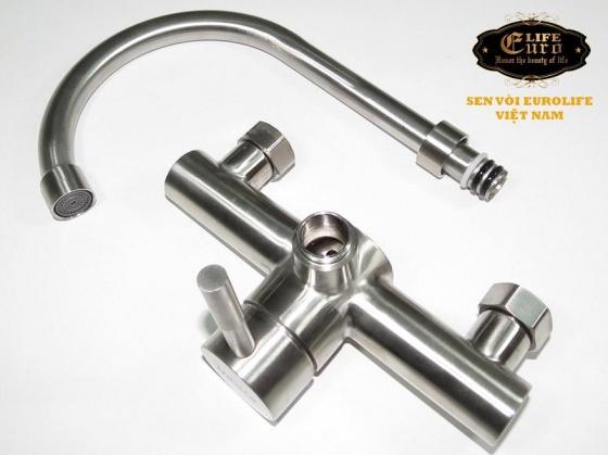 Vòi rửa chén nóng lạnh âm tường Inox SUS 304 Eurolife EL-T018AT (trắng vàng)