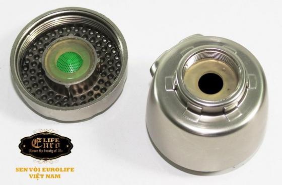 Vòi rửa chén lạnh âm tường Inox SUS 304, cần lò xo Eurolife EL-RC10 (Trắng vàng)