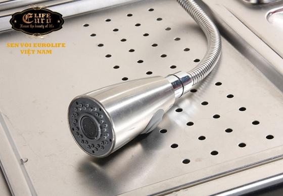 Vòi rửa chén nóng lạnh, dây kéo Inox SUS 304 Eurolife EL-T011 (trắng vàng)