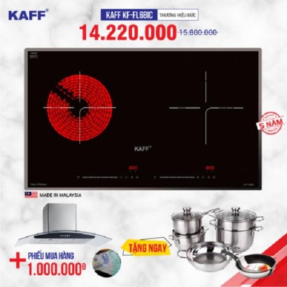 Bếp từ đôi hồng ngoại cảm ứng KAFF KF-FL68IC - Tặng hút mùi kính cong Kaff và bộ nồi Fivestar cao cấp