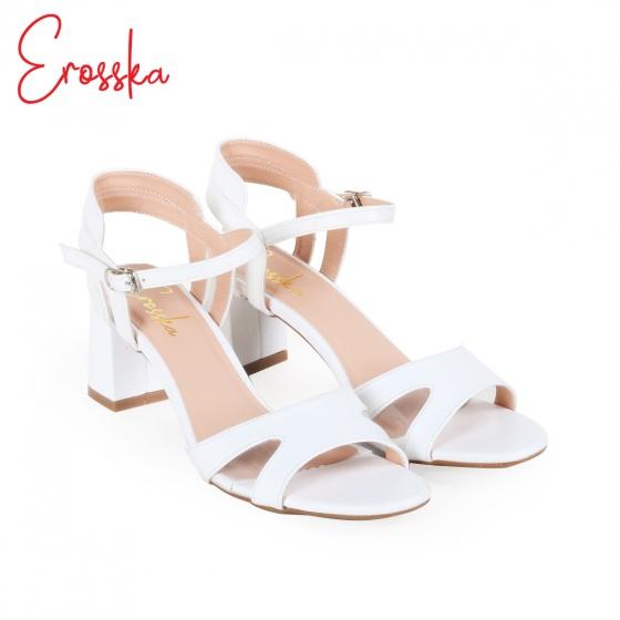 Giày nữ, giày cao gót block heel đế vuông Erosska cao 7cm cách điệu - EM009 (WH)