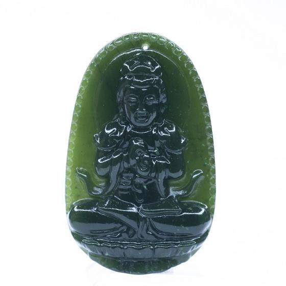 Mặt dây chuyền Như Lai Đại Nhật ngọc bích - Phật độ mạng cho người tuổi Mùi, Thân - PDMNEP06 VietGemstones
