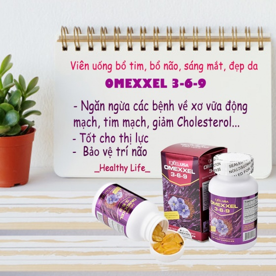 Viên uống bổ tim, bổ não, sáng mắt, đẹp da Omexxel 3-6-9 (100 viên) - xuất xứ Mỹ + tặng tinh bột nghệ 50gr