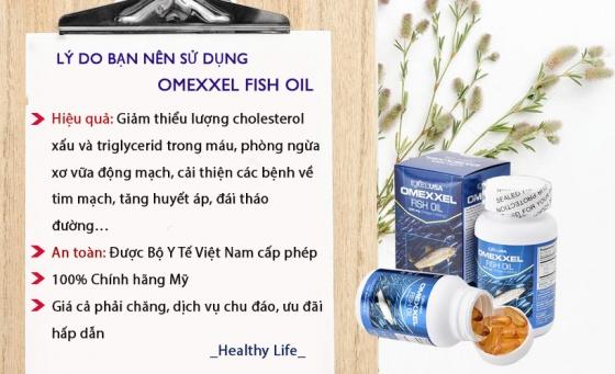 Viên uống dầu cá Omexxel Fish Oil 1000mg (Lọ 100 viên) - Xuất xứ Mỹ + Tặng 1 lọ tinh bột nghệ 50 gr