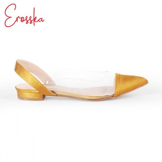 Giày nữ, giày cao gót Slingback thân trong suốt Erosska cao 1cm phối dây thời trang - EL003 (YE)