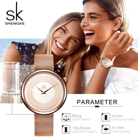 Đồng hồ nữ chính hãng Shengke UK K0094L-02 Vàng hồng