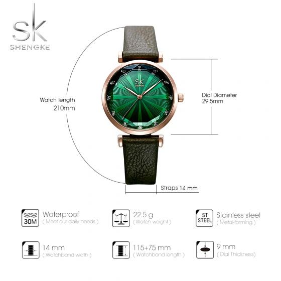 Đồng hồ nữ chính hãng Shengke Korea K0099L-02 xanh rêu