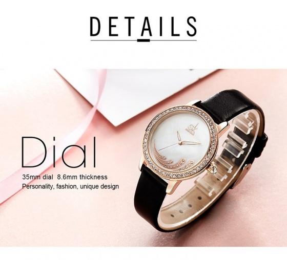 Đồng hồ nữ chính hãng Shengke Korea K0085L-02 Đen-RG