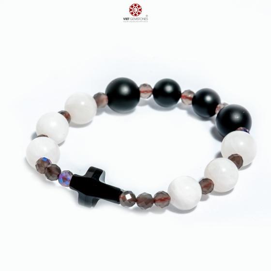 Vòng chuỗi mân côi Obsidian mix xà cừ trắng và thánh giá pha lê OBS02 - VietGemstones