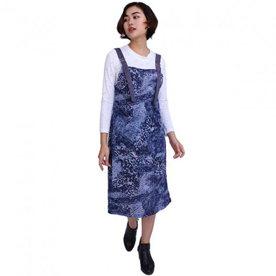 Bộ đầm yếm 2 dây màu xanh nước biển áo thun trắng dài tay Angeli Phạm hàng chính hãng