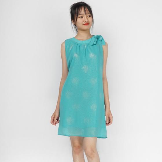Đầm suông voan xanh