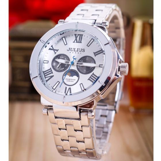 Đồng hồ nam Julius Home Hàn Quốc dây thép không gỉ JAH-102A ( bạc)